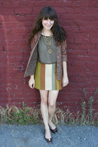 vintage cardigan - vintage blouse - vintage skirt - thrifted necklace - hand-me-