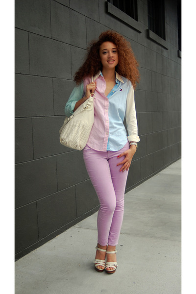 light pink Tommy Hilfiger blouse - ivory Steve Madden bag