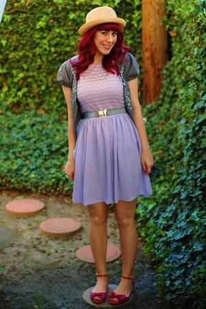 heather gray bow modcloth belt - light purple chiffon American Apparel dress