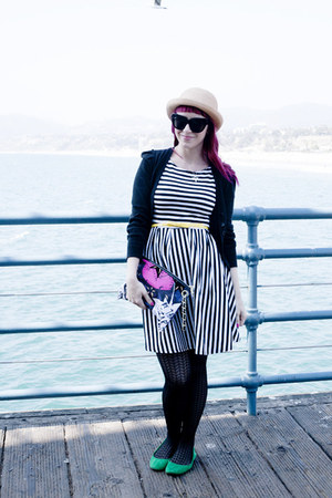 striped modcloth dress - textured Forever 21 tights - canvas Betsey Johnson bag