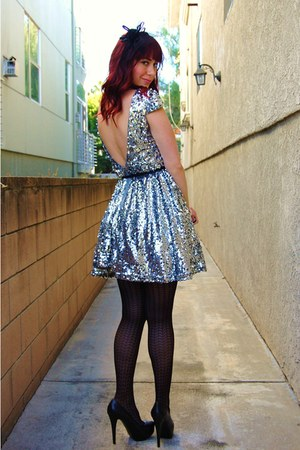 black textured Forever 21 tights - silver sequined Angl dress