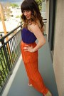 Carrot-orange-tiered-maxi-threadsence-skirt-camel-leopard-steve-madden-wedges