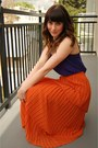 Navy-pleated-zara-top-carrot-orange-tiered-maxi-threadsence-skirt