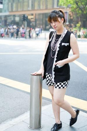 black tweed and lace Ash Lapin vest - white Zara shorts