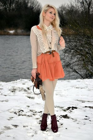 cream exit sweater - Topshop boots - burnt orange H&amp;M dress - dark brown H&amp;M bag