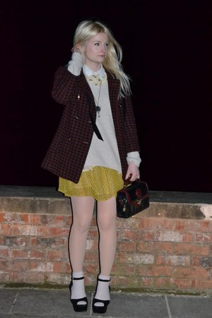 Topshop coat - vintage bag - Topshop socks
