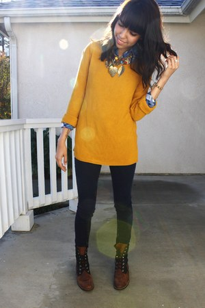 mustard knit sweater - blue plaid shirt - navy Silence  Noise jeans - dark brown