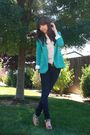 Green-silence-noise-blazer-blue-bdg-jeans-brown-thrifted-belt-cynthia-vin