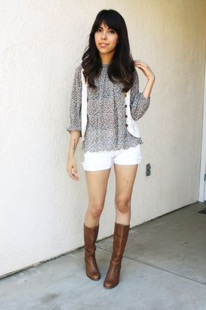 white thrifted vest - thrifted blouse - white Levis shorts - brown thifted boots