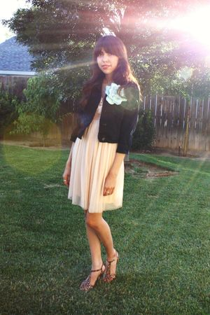 black BDG jacket - beige Kimchi&amp;Blue dress - green accessories - brown Betsey Jo