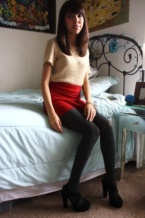 gold thrifted blouse - ruby red skirt - charcoal gray vera wang tights - black F