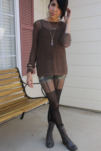 black tights - gray lace up boots - dark brown sweater
