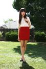 White-thrifted-blouse-red-bdg-skirt-black-seychelles-shoes
