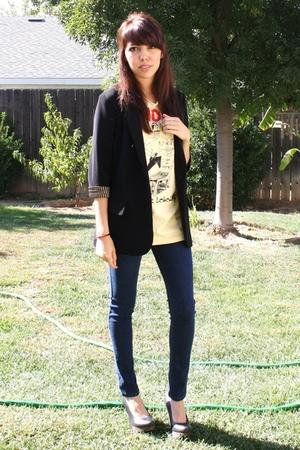 shirt - Forever21 blazer - BDG jeans - seychelles shoes