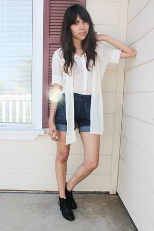 white thrifted blouse - blue Lux shorts - black thrifted boots