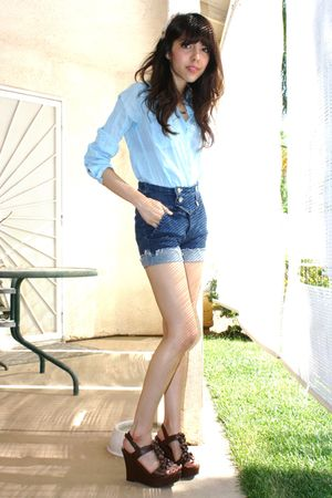 blue BDG shirt - BDG shorts - brown shoes