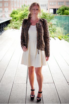 army green quilted wilfred jacket - eggshell Zara dress - wood Aldo heels