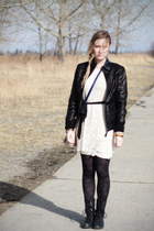 leather danier jacket - Steve Madden boots - swap dress