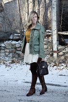 army green American Eagle jacket - brown Aldo boots - ivory Zara dress
