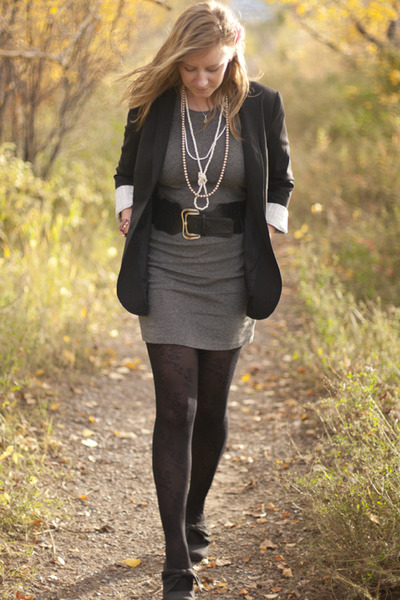 black Talula blazer - gray Vero Moda dress - gray winners shoes - black joe fres