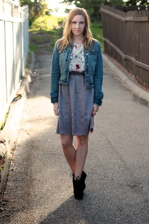 Notsoseemless skirt - jean American Eagle jacket - silk joe fresh style shirt