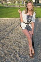 white joe fresh style cardigan - Roxy shorts - blue thrifted belt - brown thrift