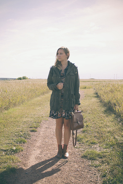 army green Talula jacket - tan coach boots - tawny floral print MinkPink dress