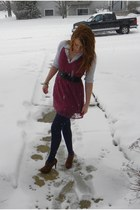 magenta Target dress - white unknown brand shirt - navy Kmart tights - black unk