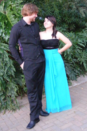 aquamarine long strapless Truworths dress - black unknown brand pants
