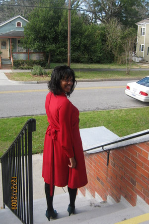 red dress - black Target tights - blue Nine West boots