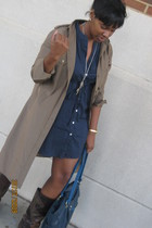 Gap dress - Old Navy dress - Forever 21 necklace - suede & co purse - boots