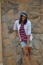 blue Arizona shorts - H&M shirt - Charlotte Russe blouse - D&Y hat - Shoe Land s