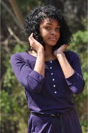 black  leggings - purple H&M dress - black moms belt