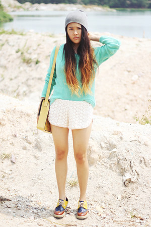 Forever21 sweater - Stylenanda shoes - asos hat - gmarket bag - Forever21 shorts