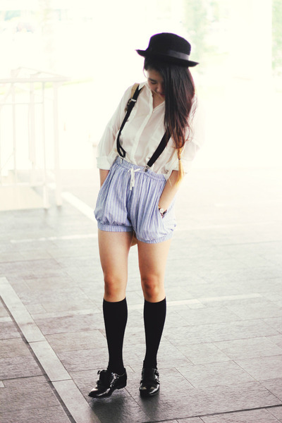 Ganni shorts - asos shoes - Forever21 hat - Pull &amp; Bear shirt