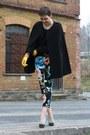 Black-cape-sky-blue-h-m-pants-turquoise-blue-asos-heels