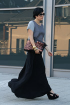 black Nellycom skirt - silver asos shirt - dark brown VJ-style bag - black ring