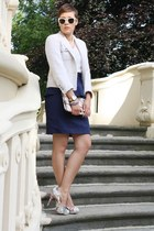 peplum H&M skirt - yest jacket - see-through shirt - clutch Primark bag