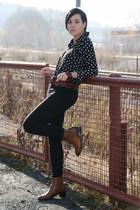 black romwe blouse - black Vila jeans - burnt orange vintage belt