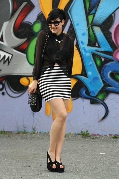 white H&M skirt - black pieces bag - black wedges