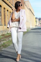 neutral shoes - light pink H&M blazer - ivory lace peplum Pimkie shirt