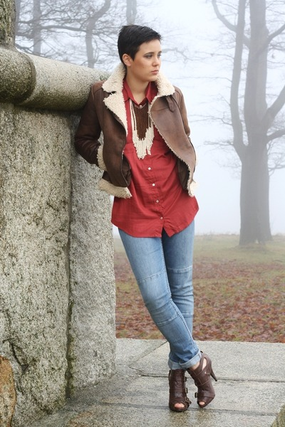 dark brown H&M jacket - blue H&M jeans - brick red Primark blouse