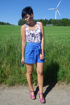 pink H&M shirt - blue H&M garden collection shorts - pink Catwalk sweater