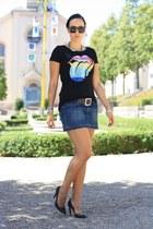 black chicnova shirt - navy jeans skirt Primark skirt