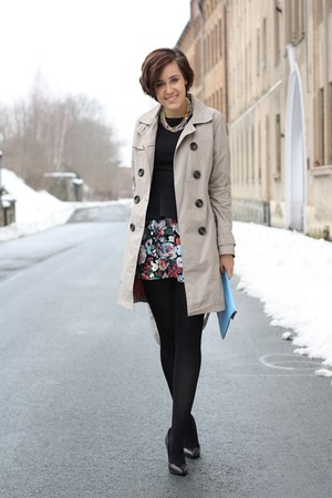trenchcoat happyrainyday coat - peplum Primark shirt - bag - mai piu senza heels
