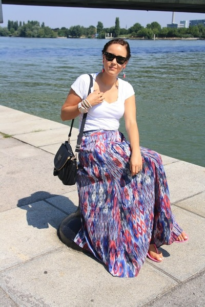 sky blue maxi skirt Zara skirt - white Zara shirt - black romwe bag