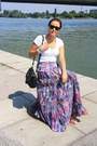 White-zara-shirt-black-romwe-bag-sky-blue-maxi-skirt-zara-skirt
