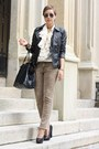 Black-leather-urban-code-jacket-brown-leo-pimkie-pants-cream-vintage-blouse