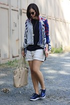 aztec Sheinside cardigan - linen noname shorts - flatforms noname sneakers