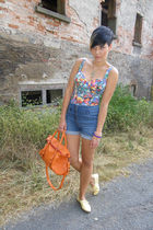 blue H&M shorts - yellow Primark shoes - orange lucia tommasi accessories - H&M